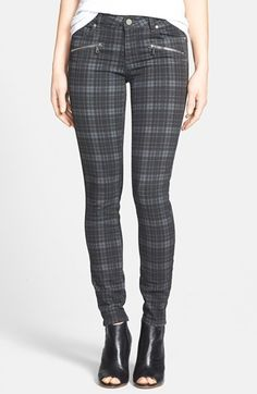 Paige Denim 'Indio' Zip Detail Ultra Skinny Jeans (Charcoal Canterbury Plaid) (Nordstrom Exclusive)