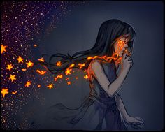 And when she cried, molten flames drew from eyes, casting burning embryos into the wind like leaves in the autumn. Tear Dust by mcptato Pretty Art, Cute Art, Yuumei Art, Character Inspiration, Character Art, Arte Obscura, Cool Drawings, Art Inspo, Art Girl
