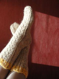 Hand knitted socks.