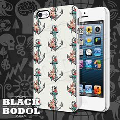 Floral Anchor Phone Case  Anchor Case  Rubber and by BLACKBODOL, $13.99