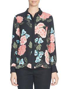 Cece Floral-Print Button-Front Blouse Women's Black Small