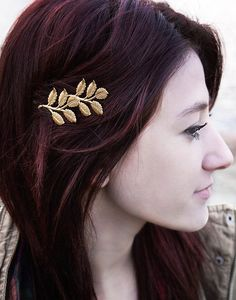 Branch Bobby Pin Gold Leaf Hair Pin Nature Hair Accessories Woodland Wedding Raw Brass Leaves Bridal Hair