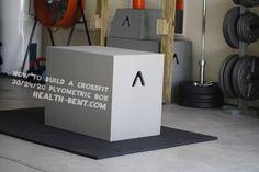 howtobuildplyobox Plyo Box Plans, Diy Plyo Box, Diy Box, Crossfit Garage Gym, Circular Saw Jig, Obstacle Course Training, Wood Putty, Plywood Sheets, Plyometrics