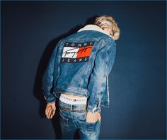 Lucky Blue Smith channels 90s style in Tommy Hilfiger's fall-winter 2016 campaign for Tommy Jeans.
