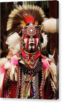 Native American Canvas Art - Pow Wow Celebration No 6 by David Smith Native American Regalia, Native American Artwork, Native American Symbols, Native American Beadwork, Indian Feather Tattoos, Tribal Face Paints, Powwow Regalia, Costumes Around The World, David Smith