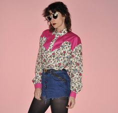 Vintage 70s 80s Pink Floral Western Button Down Country Blouse