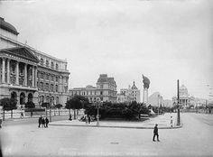 Praça Marechal Floriano - Biblioteca Nacional  - ao fundo Palácio Monroe - 1909
