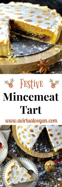 A Festive Mincemeat Tart with crisp pastry, sweet mincemeat, spice infused sponge & sweet frosting. It's rich, indulgent & perfect for the holidays! via @avirtualvegan #cookwithpurpose