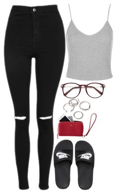 """""""Look #3764"""" by luiza-halembeck ❤ liked on Polyvore featuring Topshop, NIKE, Mark & Graham and Forever 21"""