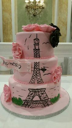 Bridal shower cake!  Paris, Eiffel tower