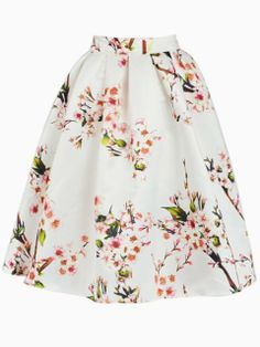 White Sakura Skater Skirt With Pleat | Choies