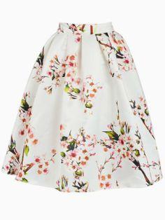 White Sakura Skater Skirt With Pleat   Choies