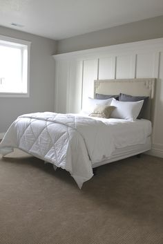I was recently in a store and fell in love with a bed similar to this one. We have a queen mattress in our new spare bedroom downstairs -bu. Bedroom Inspo, Home Decor Bedroom, Bedroom Wall, Master Bedroom, Wainscoting Bedroom, Dream Bedroom, Upholstered Wall Panels, Bedroom Orange, Bed Wall