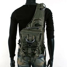 JS-Plus Men's Rugged Military-style Single-shoulder Crossbody Canvas Backpack - Army Green Military Fashion, Mens Fashion, Military Style, Style Fashion, Fashion Ideas, Canvas Backpack, Backpack Bags, Hobo Bags, Outlet Michael Kors
