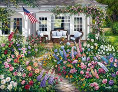 """Summer Garden"", a new painting I just finished. www.susanriosdesigns.com"
