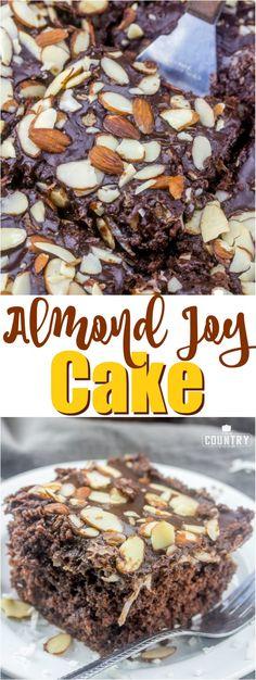 Almond Joy Cake recipe from The Country Cook #chocolatecake #coconut #cakemix #cake #dessert #easy