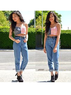 Reader Cabrini looks awesome in her high waisted jeans and patriotic crop top!
