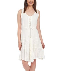 Look at this #zulilyfind! White Lace-Up Sleeveless Dress - Plus #zulilyfinds