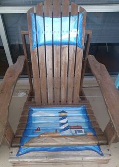 Cool idea for custom chair painting Chair Painting, Painting Tips, Cool Furniture, Painted Furniture, Furniture Ideas, Painted Stools, Rocking Chairs, Beach House, Landscapes