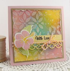 Card made using MFT stamps in Tropical Sensations along with the coordinating dies and a stencil called Petal Pattern. http://simplyhandmadebyheather.blogspot.com/2013/08/with-love.html