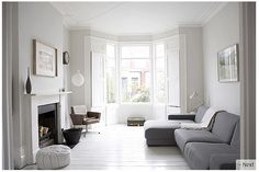 super light grey walls • thinking similar to this for your living area and kitchen