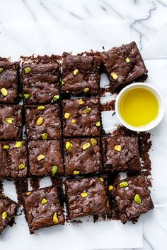 Olive Oil Brownies with Pistachios, Cocoa Nibs and Sea Salt