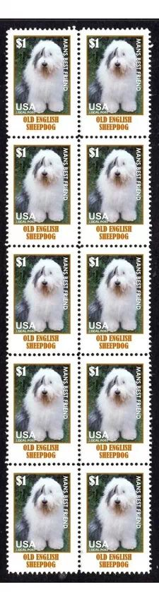 View Item: OLD ENGLISH SHEEPDOG MANS FRIEND STRIP OF 10 STAMPS#4