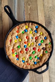 A M&M chocolate chip cookie that slices like a pie; all baked in one skillet and beautifully presented. Top with ice cream to make it extra special!