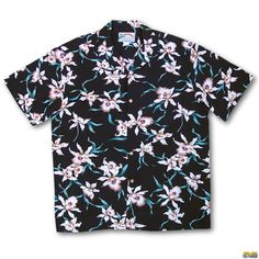 The Black Star Orchid Aloha Shirt has Hawaiian orchids. Worn by Thomas Magnum in the TV show Magnum PI. Looks great by itself or with Magnum's ball cap. Ma 1 Jacket, Magnum Pi, Paradise Found, Aloha Shirt, Short Sleeve Button Up, Black Star, Hawaiian, Orchids, Looks Great