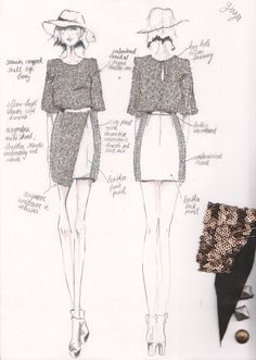Fashion Design Sketchbook - dress sketches & fabric swatches - fashion drawing; fashion portfolio // Daisy Bernt