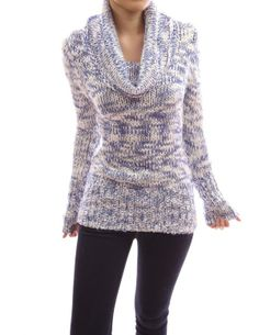 Women's #Fashion #Clothing: Blouses, #Tops, and #Sweaters: PattyBoutik Cowl Neck Long Sleeve Ribbed Hem Multi #Color #Blue and #White Pullover Open #Knit #Jumper #Sweater: #Clothes