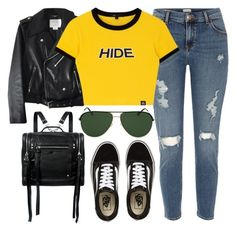 """""""Hide"""" by monmondefou ❤ liked on Polyvore featuring Kate Spade, River Island, Tom Ford, McQ by Alexander McQueen, Vans, yellow and black"""