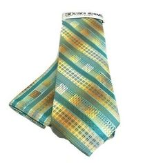 Stacy Adams Men's Tie Hanky Set Solid Banana Gold Turquoise Teal Royal Blue | eBay Teal, Turquoise, Tie Set, Tie And Pocket Square, Free Items, Summer Collection, Royal Blue, Banana, Neck Ties