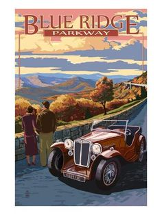 Blue Ridge Parkway, Virginia - Viaduct Scene at Sunset (Art Prints, Wood & Metal Signs, Canvas, Tote Blue Ridge Parkway Virginia, Best Places To Camp, Shenandoah National Park, Sunset Art, Poster Prints, Art Prints, Stock Art, Vintage Travel, Vintage Auto