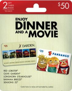 Who doesn't like dinner and a movie? Earn 20¢ #fuelperks when you buy any of these gift cards!