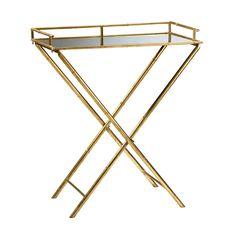 Golden Metallic Bamboo Tray Table