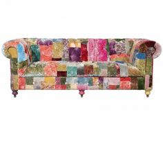 I have a big book of fabric samples and a musty old sofa that is crying out for patchworkification! Here are some beautiful eccentric examples I've discovered on the net. Furniture, Patchwork Sofa, Sofa Inspiration, Old Sofa, Sofa, Classic Sofa, Reupholster Chair, Upholstery, Vintage Furniture
