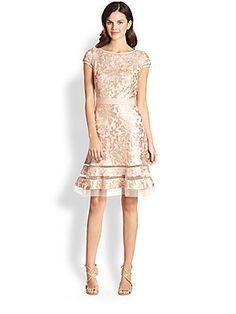 Tadashi Shoji Metallic-Lace Dress