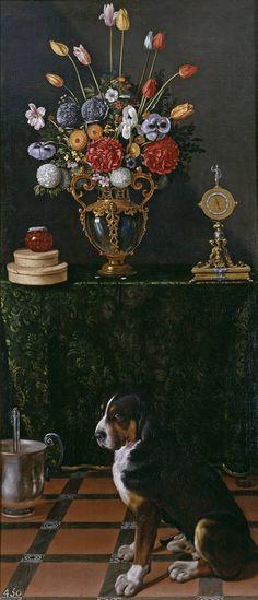 Hamen y León, Juan van der  Naturaleza muerta con florero y perro  228,5 cm x 100,5 cm  Hacia 1625