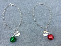 """Believe charm and jingle bell necklace: choose green or red bell; holiday jewelry for American Girl/other 18 """" dolls; stocking stuffer by BFFandMEJewelry on Etsy"""