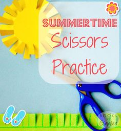 Easy summer theme scissors practice for toddlers and preschoolers who need to work on their scissors skills. The Ultimate Party Week 47