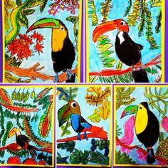 Year Toucans inspired by Henri Rousseau Primary School Art, Elementary Art, Kids Art Class, Art For Kids, School Murals, 3rd Grade Art, Henri Rousseau, Year 7, Virtual Art