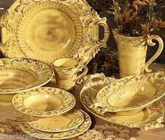 Handmade Italian Ceramic Gold Tuscan Horchow 16pc Dinnerware Set Baroque Design