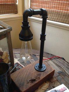 Industrial Light, Edison Bulb, Upcycled Wood, Accent Light, Desk Lamp, Table Light, Vintage Light, Reclaimed Wood Lamp on Etsy, $95.00