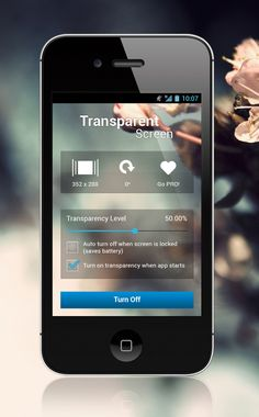 Transparent Screen App by Barjinder Singh, via Behance --  Love that it is Android OS running on an iPhone :-)