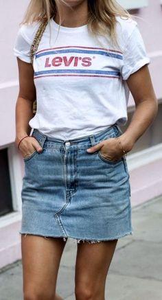 ootd   printed tee and denim skirt