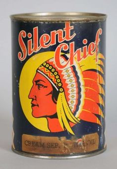 Silent Chief Motor Oil 1 Quart Round Metal Can