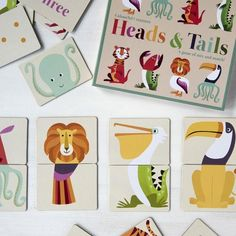 Kinderspiel Heads And Tails Im Colourful Creatures Design