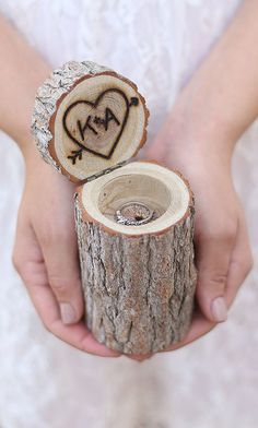 Personalized Rustic Wood Ring Bearer Pillow Box Alternative Tree Stump QUICK shipping available Wedding Ring Box, Our Wedding, Dream Wedding, Wedding 2017, Spring Wedding, Pillow Box, Wood Rings, Ring Verlobung, Marry Me