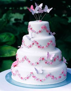 'Butterfly' wedding cake : Inspired by a summer's day, from Maisie Fantaisie Wedding Cakes London - http://www.maisiefantaisie.co.uk/butterfly-wedding-cake.html#